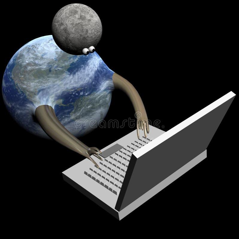 Ziemia i księżyc na Internetach na czerń obrazy royalty free