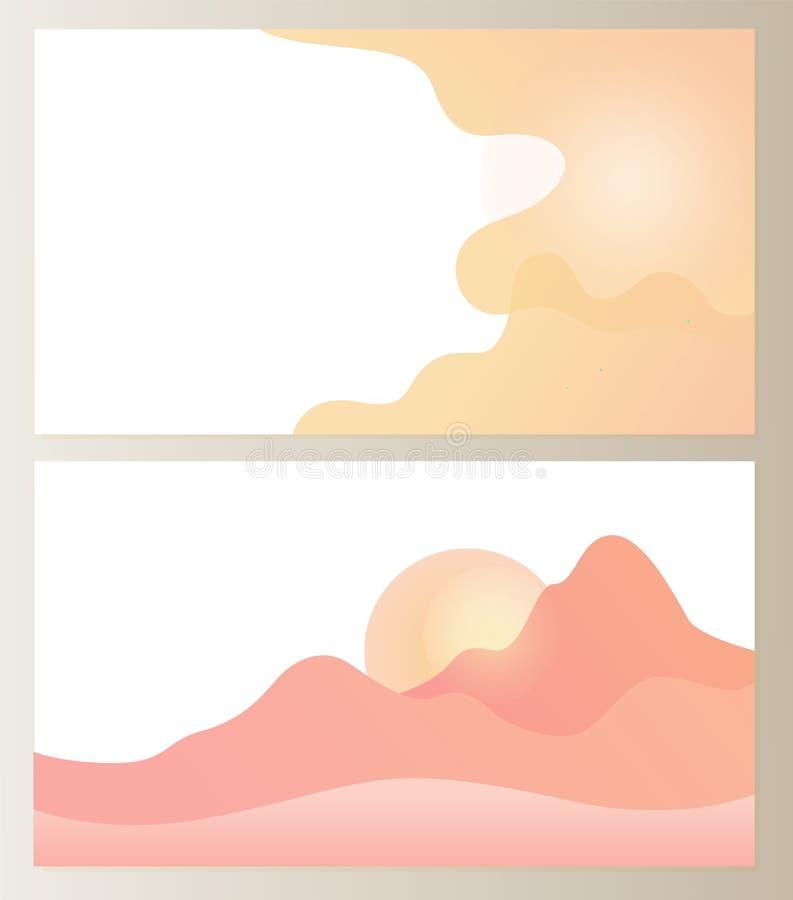 Ziemia i niebo z chmurami, gór wzgórza Ustawiający royalty ilustracja