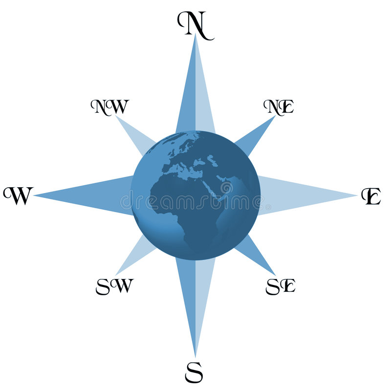 ziemia kompas. ilustracja wektor