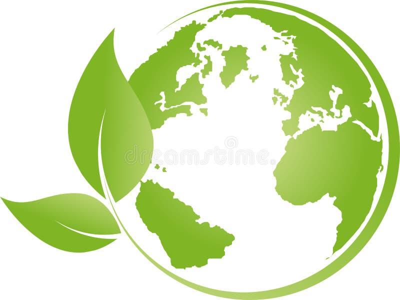 Ziemia, kula ziemska, światowa kula ziemska i liście, ziemski logo royalty ilustracja