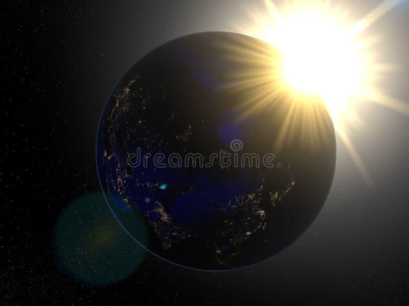 Ziemia od astronautycznego Rosja przy nocą royalty ilustracja