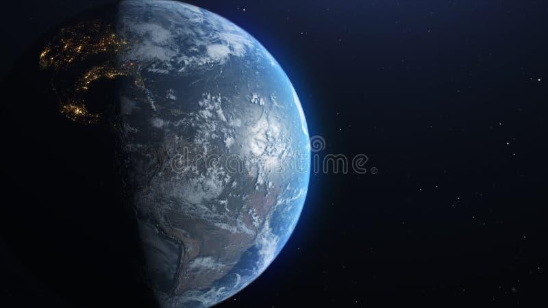 Ziemia od przestrzeni, poj?cie astronauta widok wolno rusza si? daleko od z gwiazdami w przestrzeni, UHD 3840 2160 materia? filmo royalty ilustracja