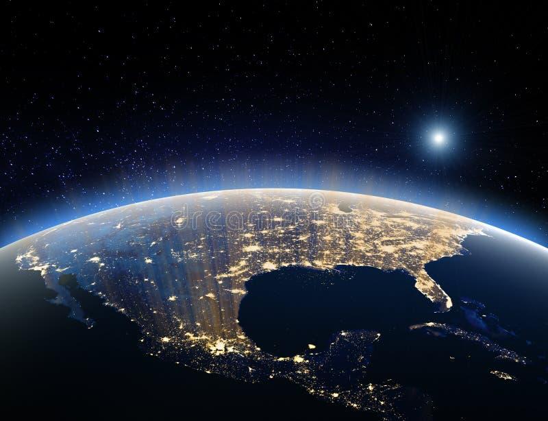 Ziemia od przestrzeni - usa Elementy ten wizerunek meblujący NASA ilustracji