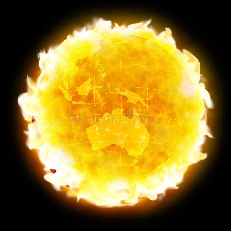 ziemia ognisty globu ocieplenia planety royalty ilustracja