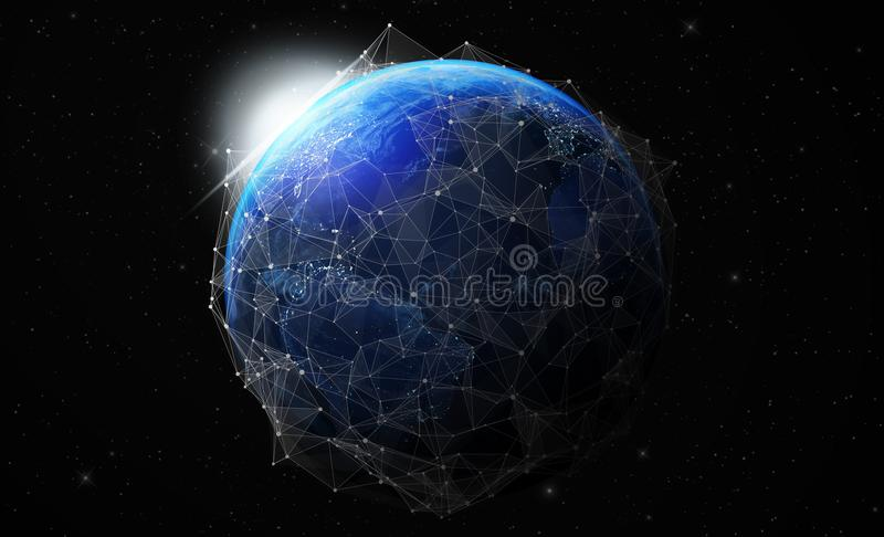 ziemia przy nocą od astronautycznych globalnych komunikacj zdjęcie royalty free