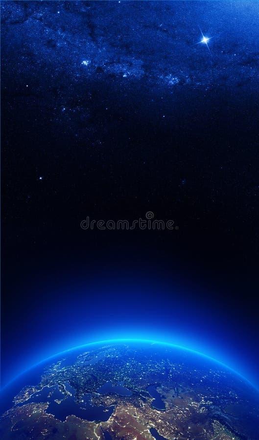 Ziemia przy nocą z miast światłami ilustracja wektor