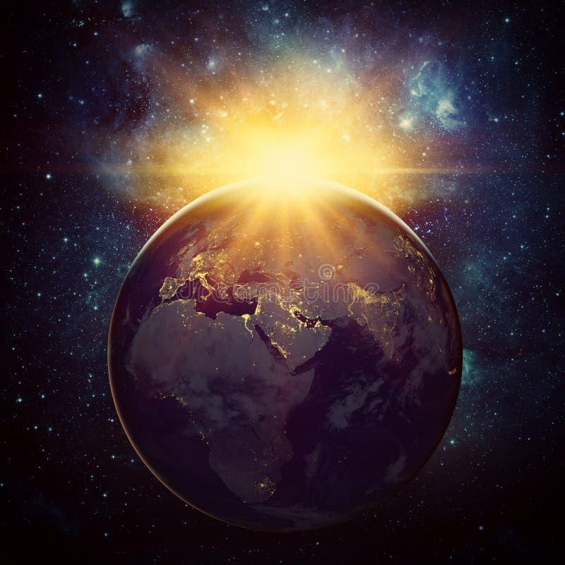 Ziemia, słońce, gwiazda i galaxy, obraz royalty free