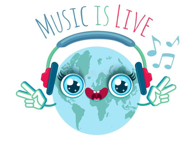 Ziemia słucha muzykę w hełmofonach royalty ilustracja