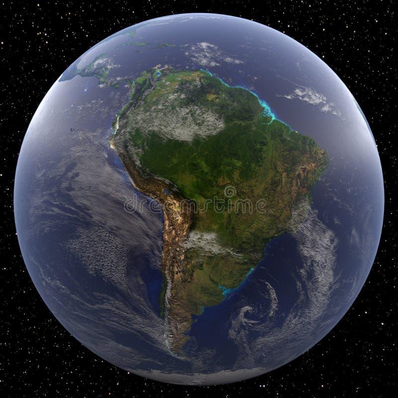 Ziemia skupiająca się na Ameryka Południowa przeglądał od przestrzeni royalty ilustracja