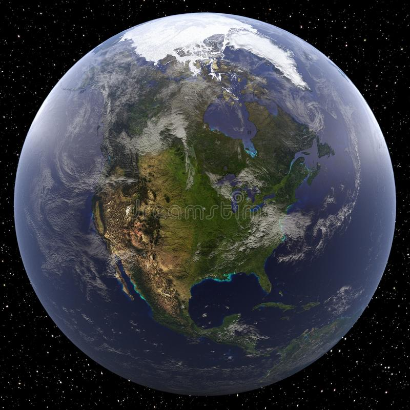 Ziemia skupiająca się na Północna Ameryka przeglądał od przestrzeni royalty ilustracja