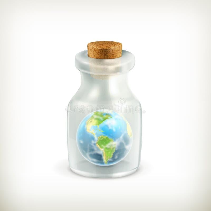 Ziemia w butelce, ikona royalty ilustracja