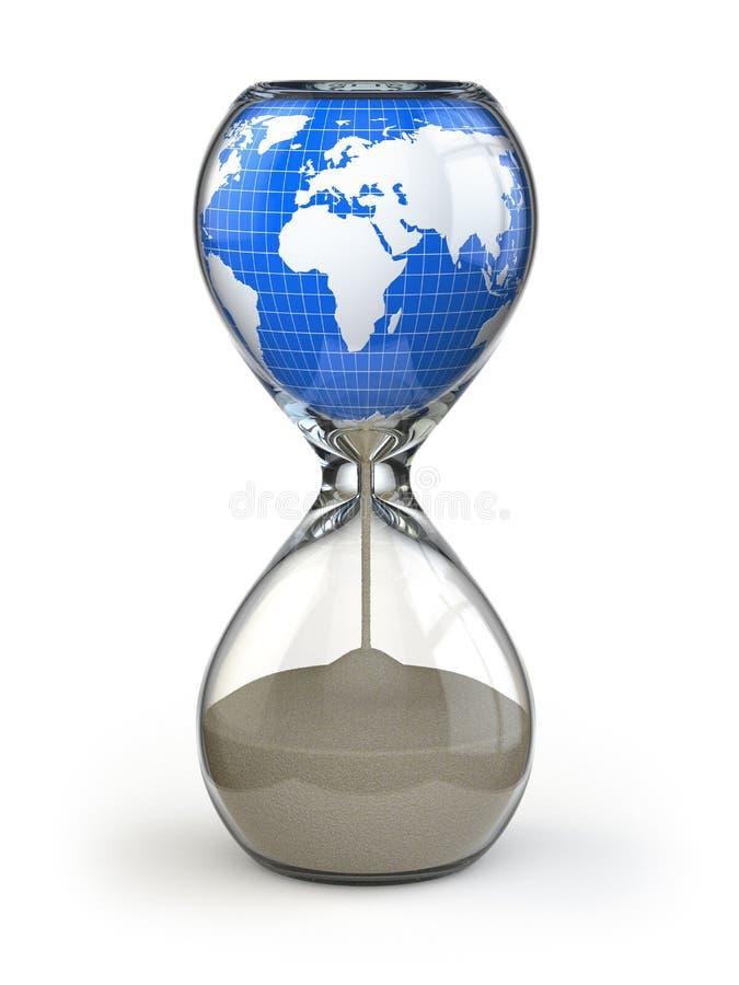 Ziemia w hourglass. Konceptualny wizerunku zniszczenie świat. ilustracji