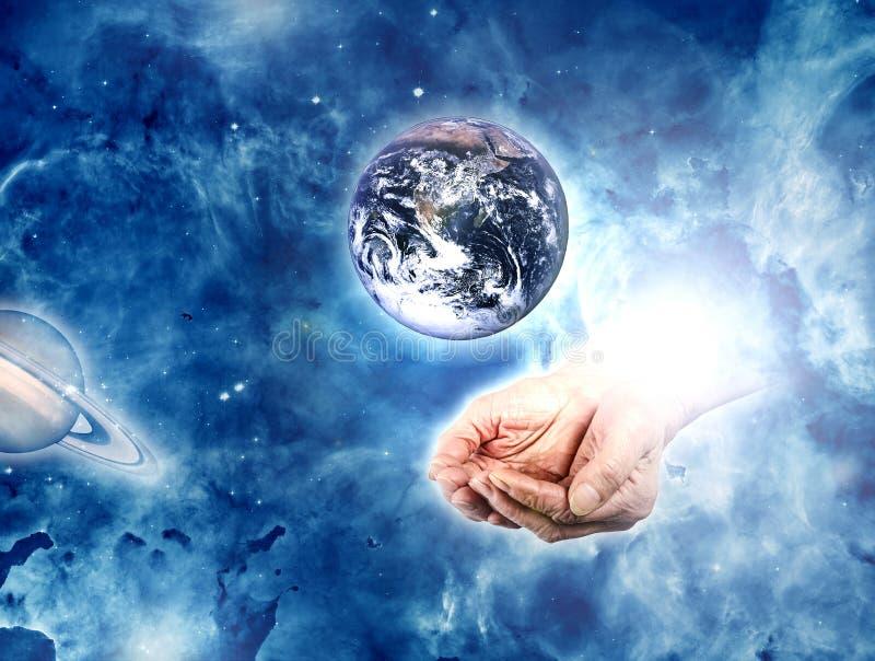 Ziemia w rękach royalty ilustracja