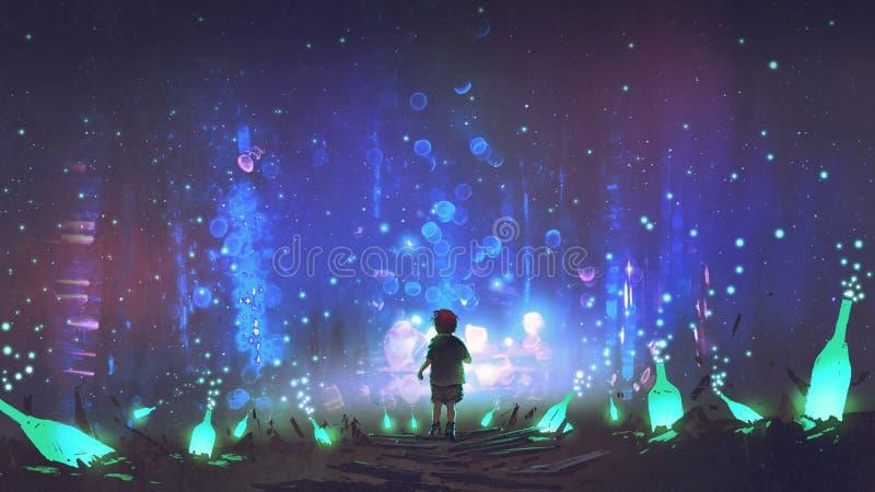 Ziemia wiele rozjarzone zieleni butelki royalty ilustracja
