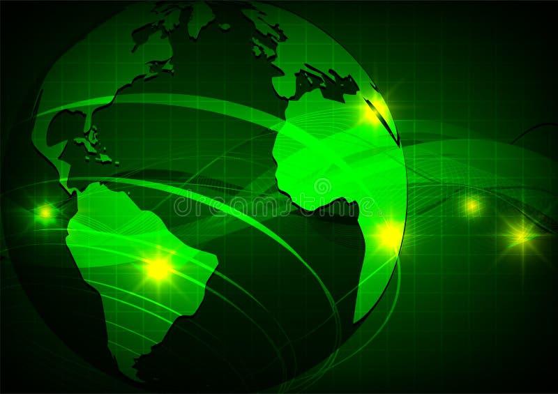 Ziemia, Zielonej fala abstrakcjonistyczny wektorowy tło, technologii pojęcie ilustracja wektor