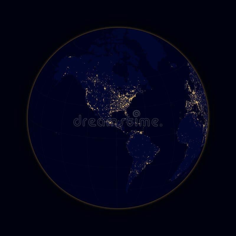Ziemscy sfer światła miasta północ i południe Ameryka wektor ilustracji