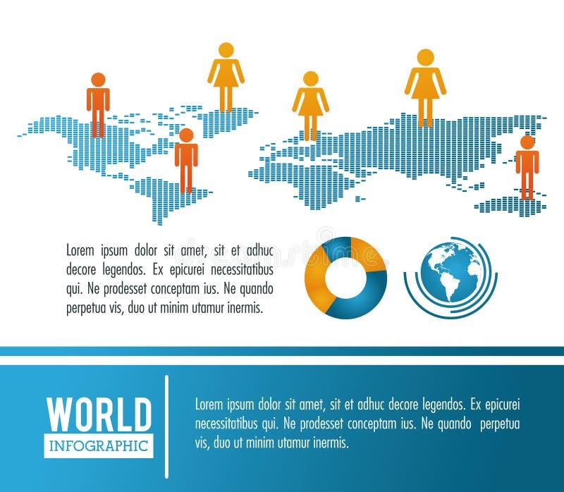 Ziemska światowa infographic populacja royalty ilustracja