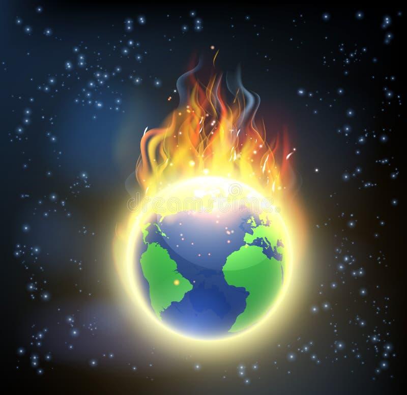 Ziemska Światowa kula ziemska na ogieniu ilustracja wektor