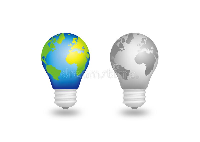 Ziemska żarówka lampy - Zielony energii światło - zdjęcia stock