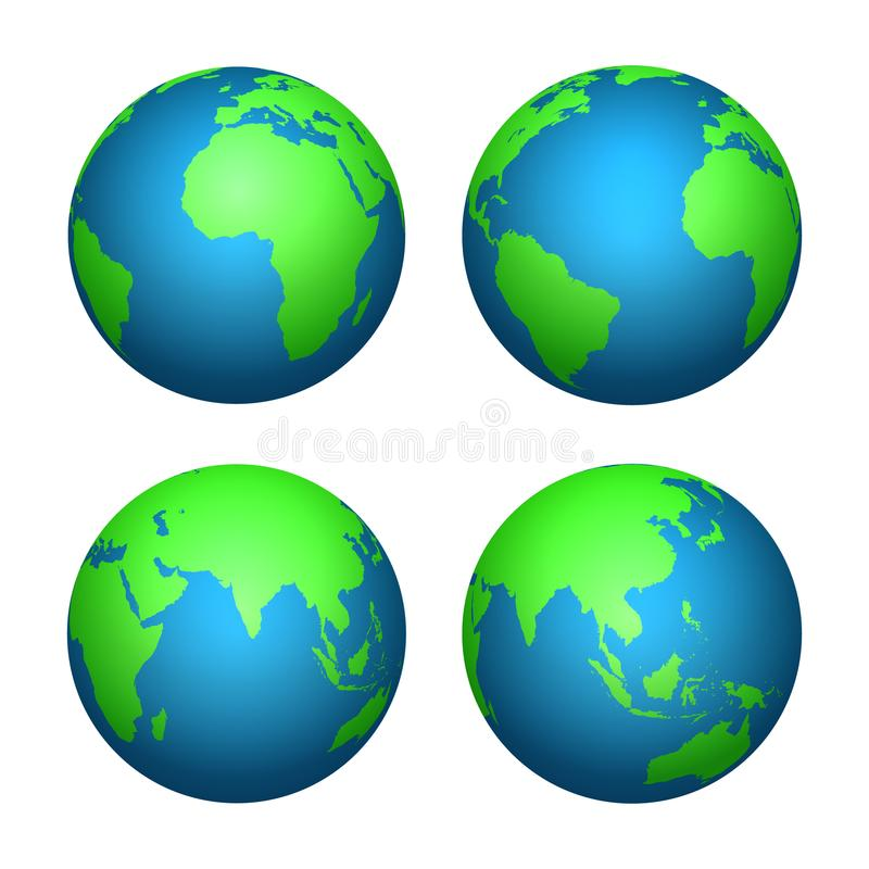Ziemska 3D kula ziemska Światowa mapa z zielonymi kontynentami i błękitnymi oceanami Wektor odizolowywający set ilustracja wektor