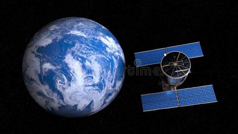 Ziemska i spowodowany przez człowieka satelita ilustracja wektor