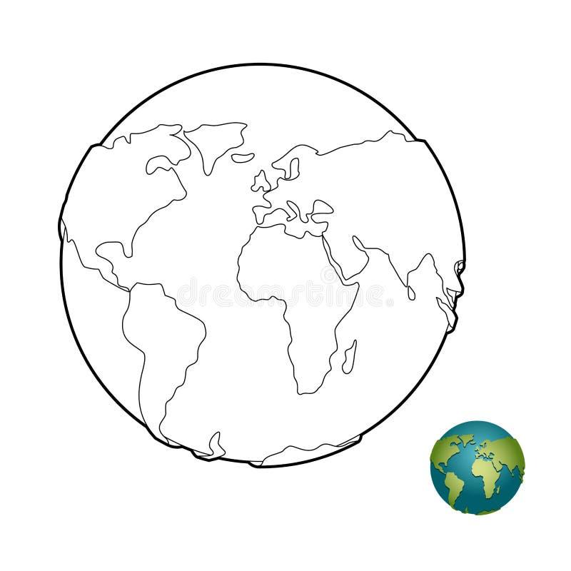 Ziemska kolorystyki książka Nadziemski ciało Planeta z stałymi lądami kulę royalty ilustracja