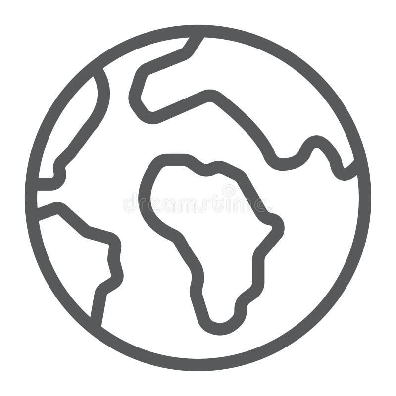 Ziemska kreskowa ikona, mapa i planeta, kula ziemska znak, wektorowe grafika, liniowy wzór na białym tle ilustracja wektor