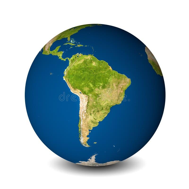 Ziemska kula ziemska odizolowywająca na whitebackground Satelitarny widok skupiający się na Ameryka Południowa Elementy ten wizer royalty ilustracja