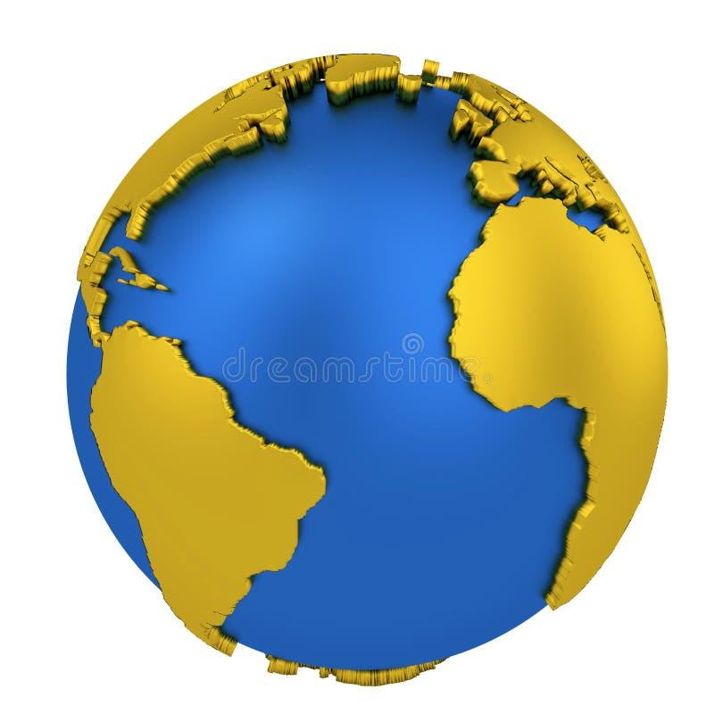 Ziemska kula ziemska z żółtymi kontynentami odizolowywającymi na białym tle mapa ilustracyjny stary ?wiat ?liwek 3 d ?atwej edycj royalty ilustracja