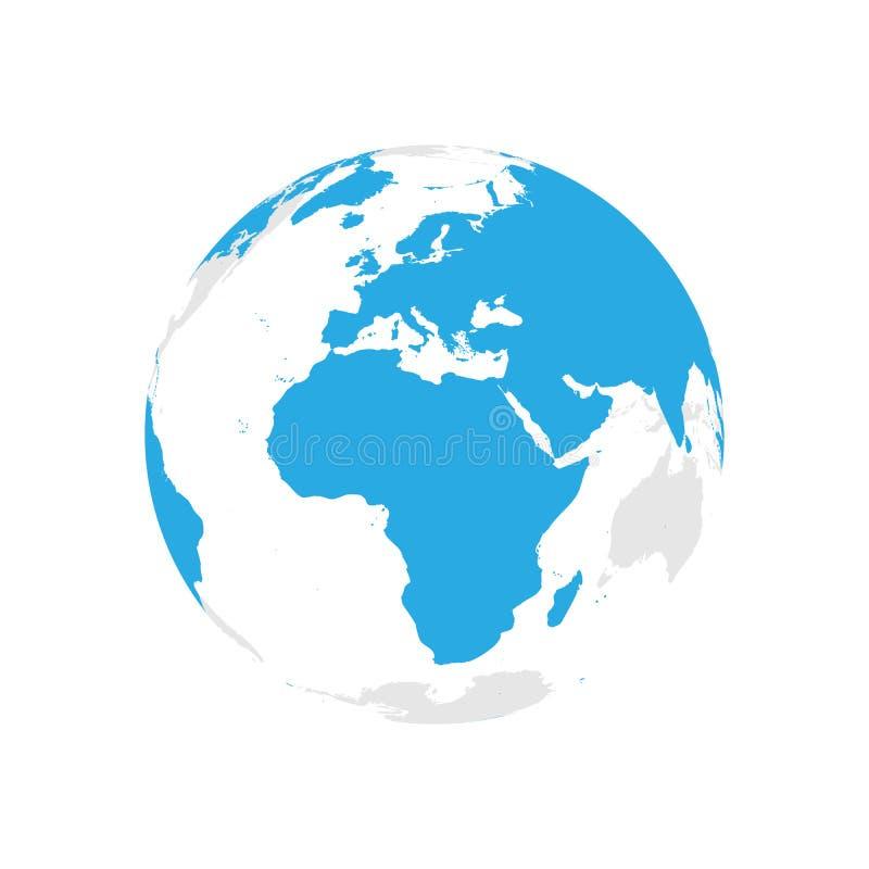 Ziemska kula ziemska z błękitną światową mapą Skupiający się na Afryka i Europa Płaska wektorowa ilustracja ilustracja wektor