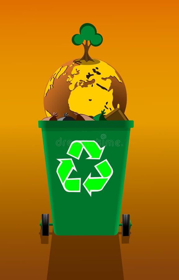 Ziemska kula ziemska z narastającym drzewem w pojemnik na śmiecie, pojęcie zanieczyszczenie royalty ilustracja