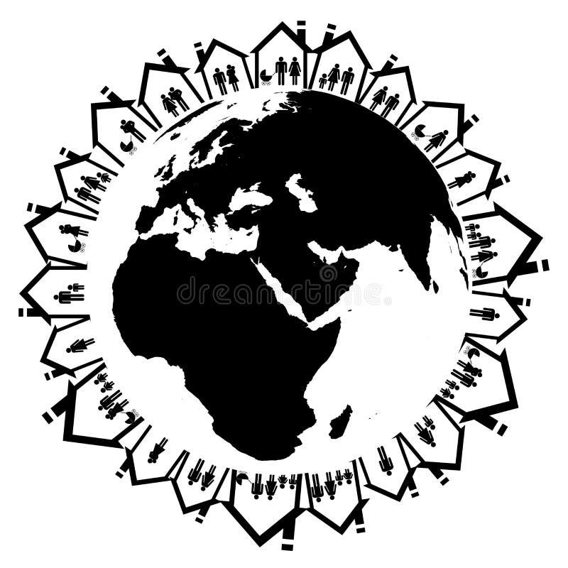 Ziemska kula ziemska z rodziną w domowych ikonach ilustracji