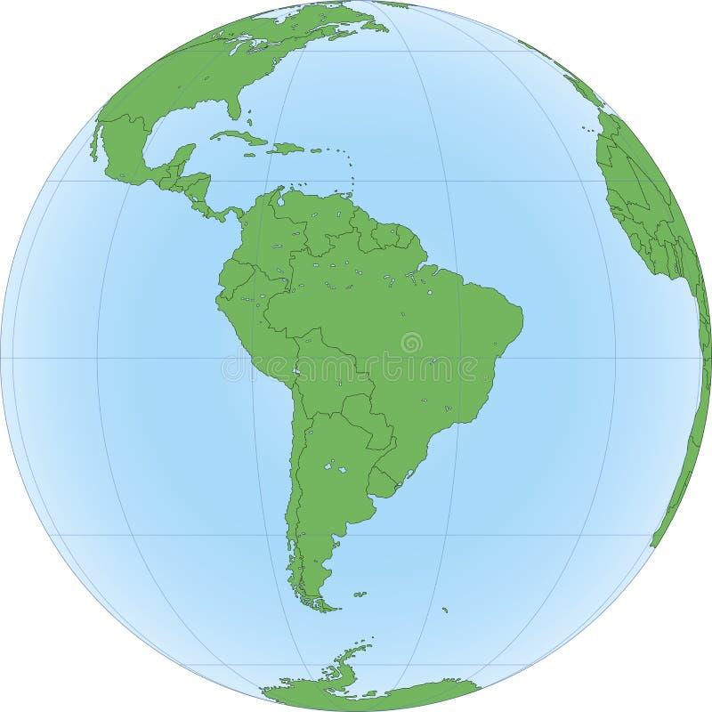 Ziemska kula ziemska z skupiający się na Ameryka Południowa ilustracji