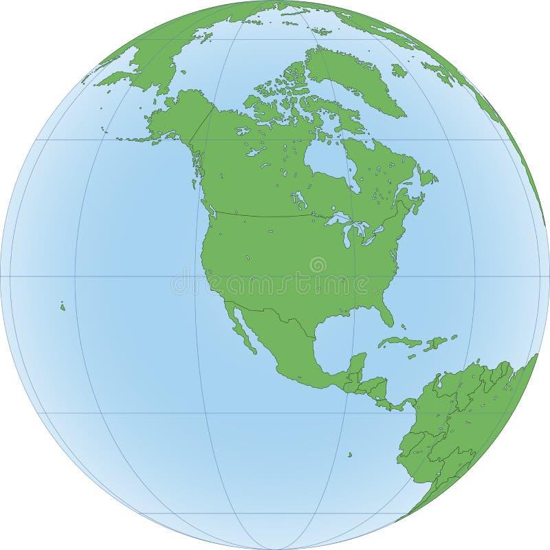 Ziemska kula ziemska z skupiający się na Północna Ameryka ilustracji