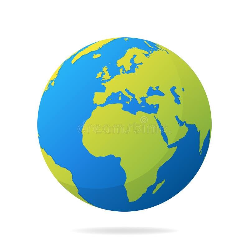 Ziemska kula ziemska z zielonymi kontynentami Nowożytny 3d światowej mapy pojęcie Światowej mapy realistyczna błękitna balowa wek ilustracji