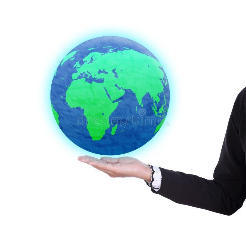 Ziemska kula ziemska w biznesowej kobiety ręce ilustracja wektor