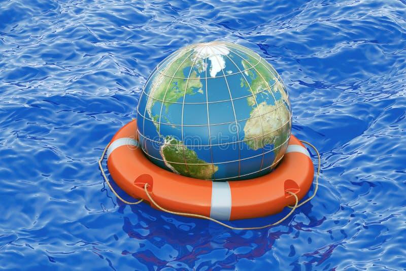 Ziemska kula ziemska z lifebuoy na otwartym morzu Save światowego concep ilustracji