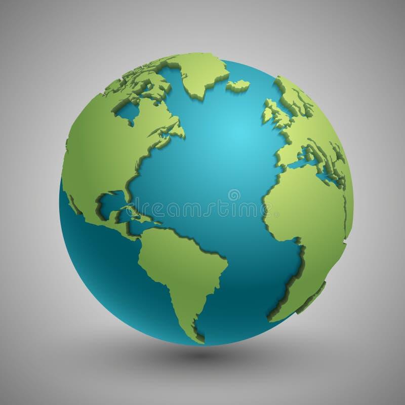 Ziemska kula ziemska z zielonymi kontynentami Nowożytny 3d światowej mapy pojęcie ilustracji