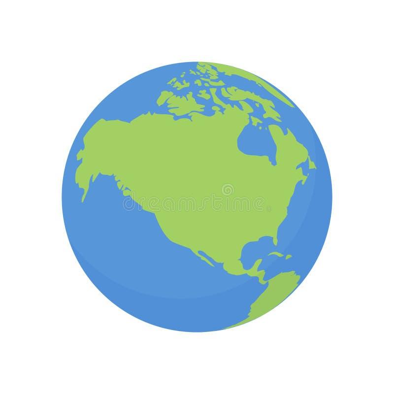 Ziemska kuli ziemskiej ikona Wektorowa światowa planeta z usa i Kanada mapą royalty ilustracja