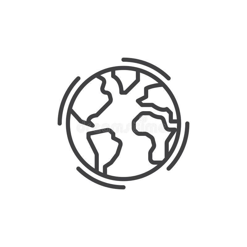 Ziemska kuli ziemskiej linii ikona, konturu wektoru znak, liniowy stylowy piktogram odizolowywający na bielu royalty ilustracja