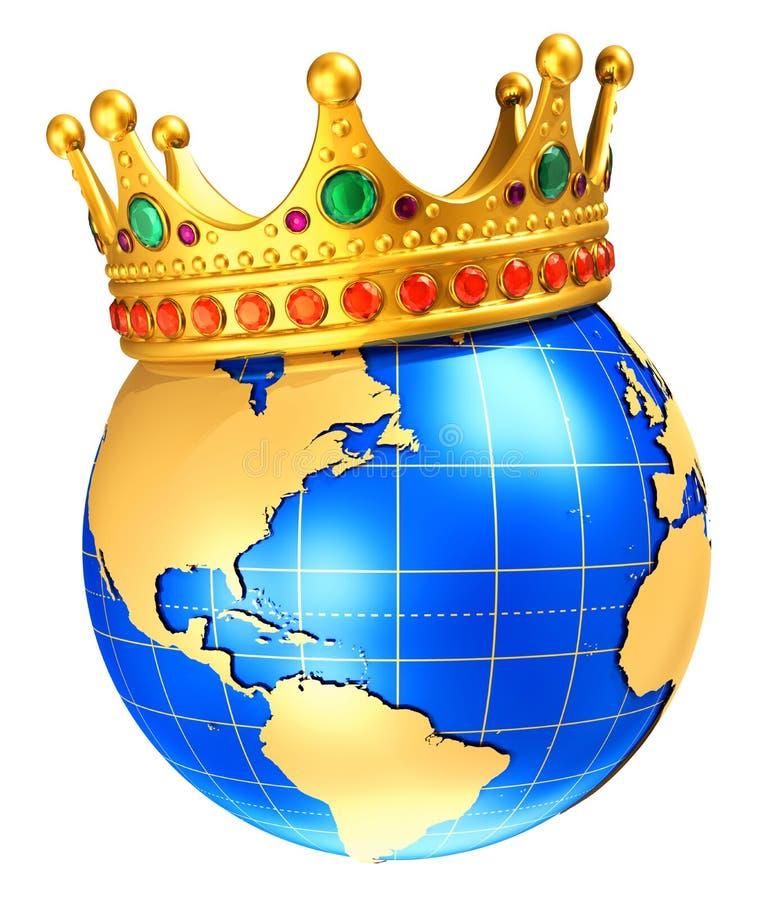 Ziemska kuli ziemskiej planeta z złotą królewską koroną ilustracja wektor