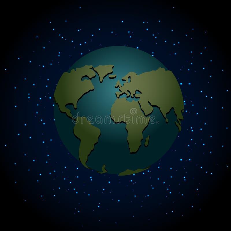 Ziemska noc nighttime planeta w przestrzeni Udział gwiazdy w galaxy royalty ilustracja