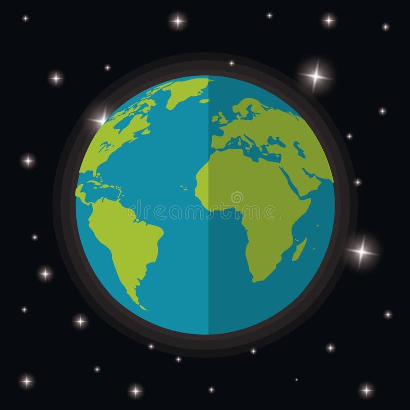 ziemska planeta światu gwiazd przestrzeń ilustracja wektor
