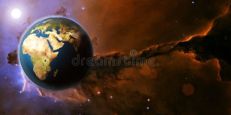 Ziemska planeta od przestrzeni na gwiazdowym polu mgławicie i obrazy stock