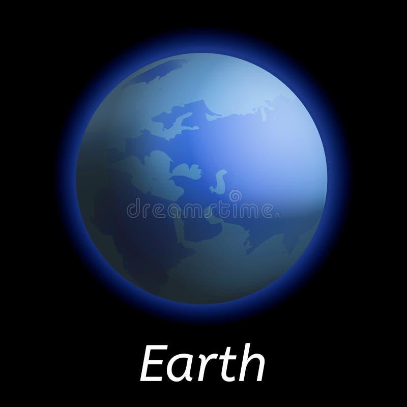 Ziemska planety ikona, realistyczny styl ilustracja wektor