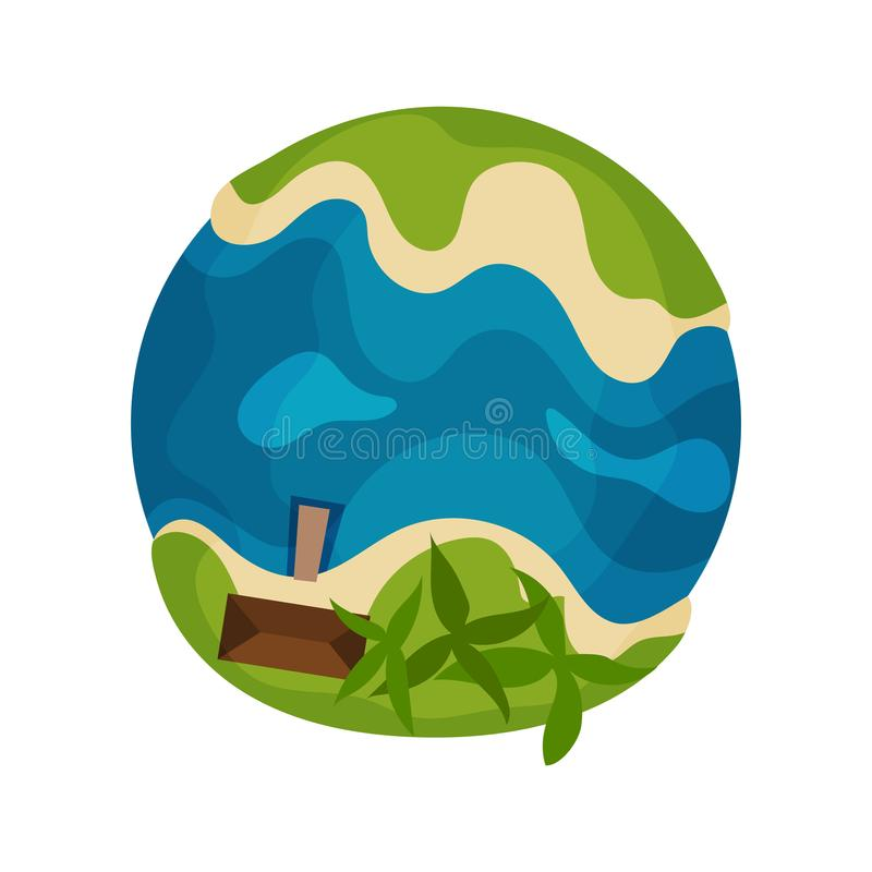 Ziemska planety kula ziemska z tropikalną wyspy i oceanu wektorową ilustracją na białym tle ilustracji