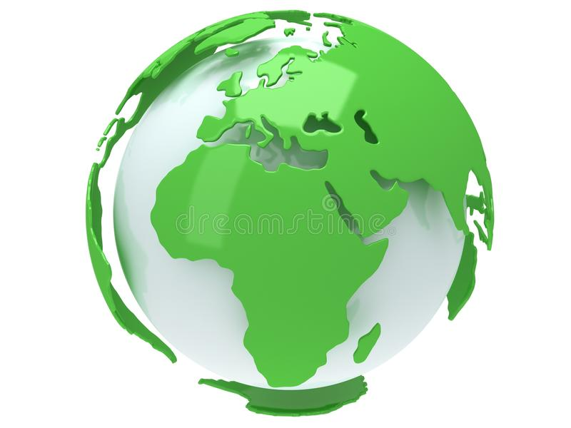 Ziemska planety kula ziemska. 3D odpłacają się. Afryka widok. royalty ilustracja