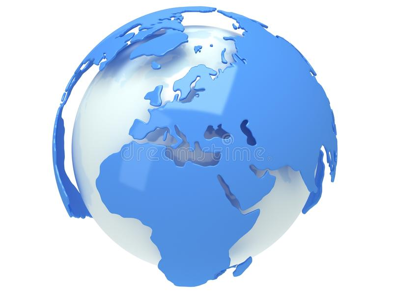 Ziemska planety kula ziemska. 3D odpłacają się. Europa widok. royalty ilustracja