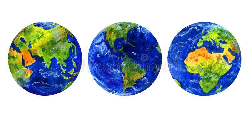 Ziemska różna ręka rysująca planety trzy widoku akwareli ilustracja ilustracja wektor