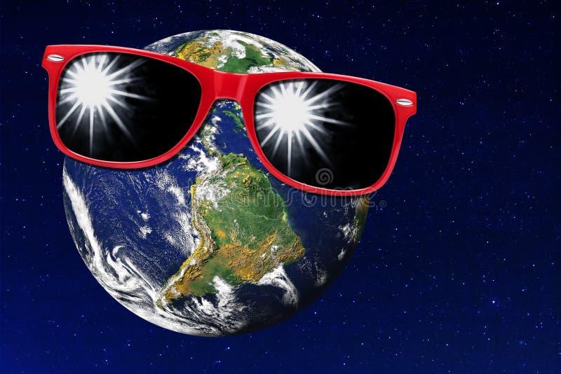 Ziemski Czerwony okulary przeciwsłoneczni ochrony światła słonecznego wszechświat obraz stock